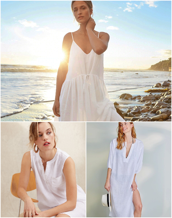 Light White Linen Dresses Beach Resort Cover Ups Gauze