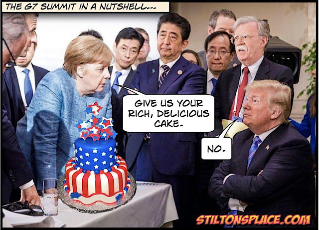 stilton's place, stilton, political, humor, conservative, cartoons, jokes, hope n' change, trump, merkel, germany, G7