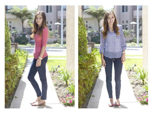 Девушка в узких джинсах и обтягивающем и свободном топе
