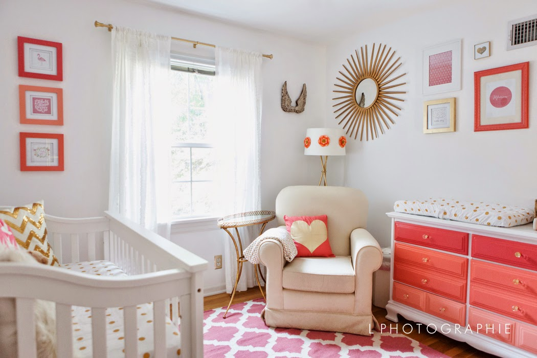 Coral, Gold & White Nursery