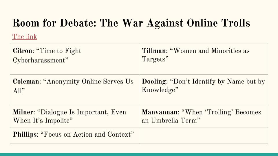 ERWC @ MHS - Period 4 - Blanck: [BB]: NYT Room for Debate