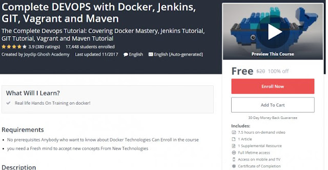 [100% Off] Complete DEVOPS with Docker, Jenkins, GIT, Vagrant and Maven| Worth 20$