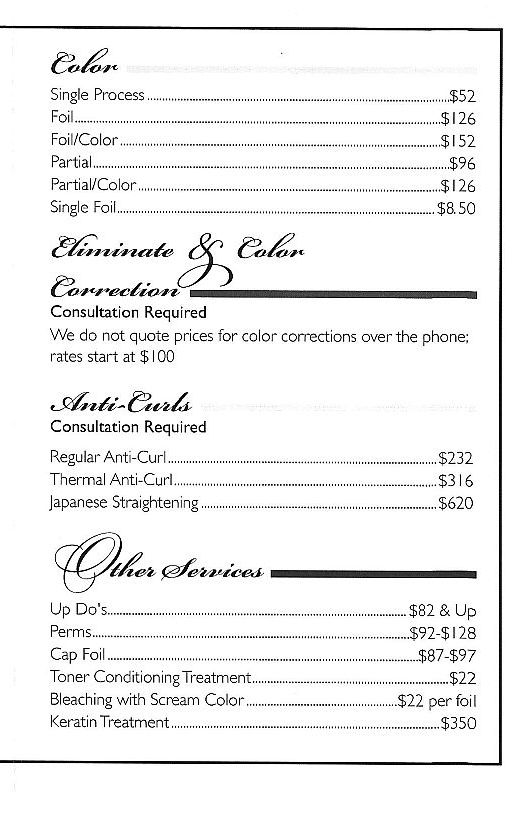Heads Up Hair Salon Services and Price List