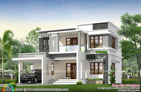 Modern 4 bedroom front view rendering