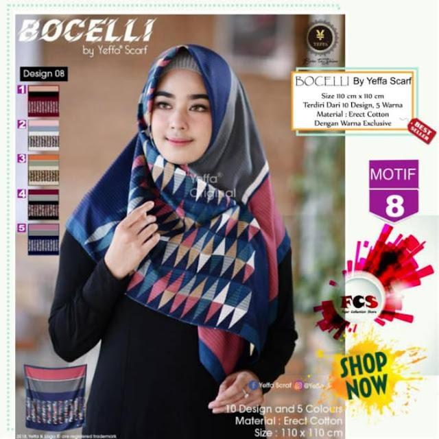 Jilbab Segi Empat Bocelli Premium Motif Cantik Modis By Yeffa Scarf
