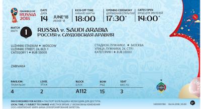 عبر موقعه الرسمى:فيفا يعلن عن شكل تذكرة كأس العالم 2018