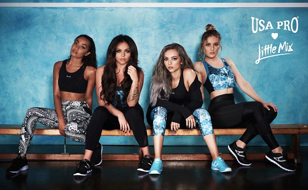 582eb6f4139302 Perrie Edwards, Jade Thirlwall, Leigh-Anne Pinnock and Jesy Nelson display their  taut tums and toned legs as they model the new USA Pro range.