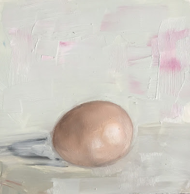 Sage green and Egg oil painting by Philine van der Vegte