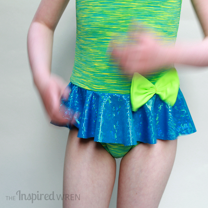 Love the pop of neon in that bow! My Childhood Treasures Leaotard/Swimsuit 2, View B | The Inspired Wren