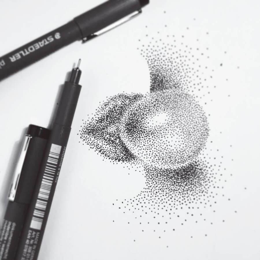 11-Blowing-a-Bubble-Eric-Wang-Stippling-Drawings-www-designstack-co