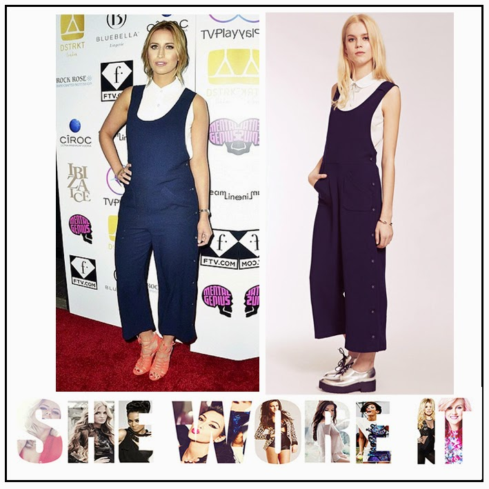 Celebrity Fashion, Cropped Leg, Dahia Fashion, Dungaree, Ferne Mccann, Jumpsuit, Navy, Pocket Detail, Scooped Neck, Side Button Detail, Tailored, The Only Way Is Essex, TOWIE, V-Back,