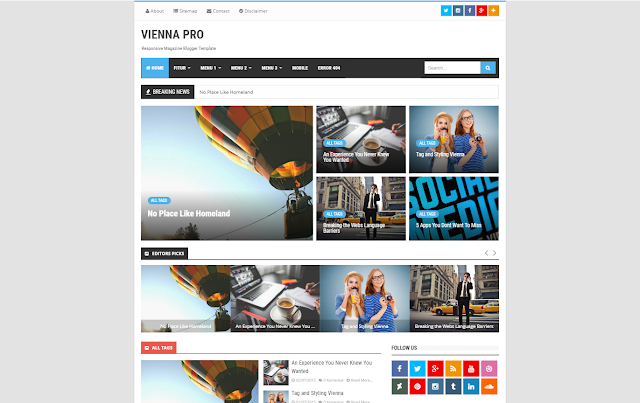 Vienna Mag Pro Responsive Blogger Template