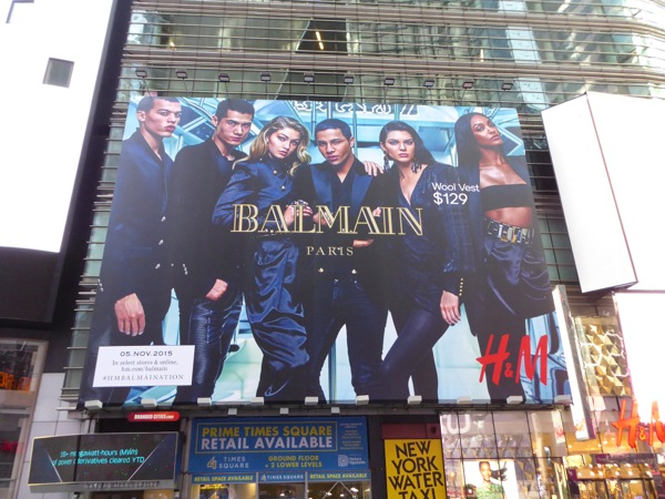 H&M Balmain collection billboard Times Square
