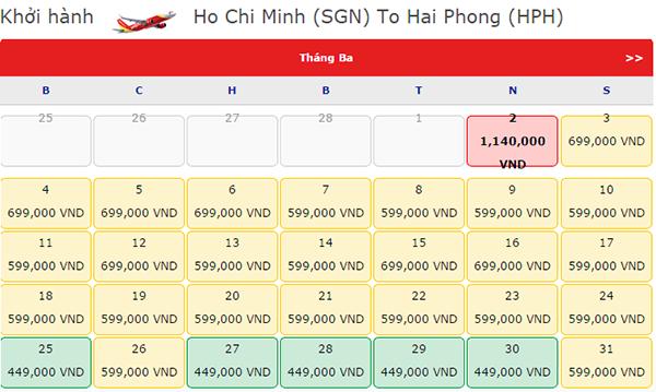 Giá vé máy bay đi Hải Phòng tháng 3 Vietjet Air