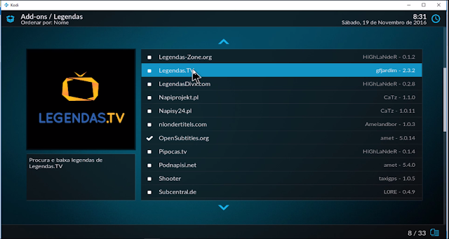 Kodi17 - legendas add ons