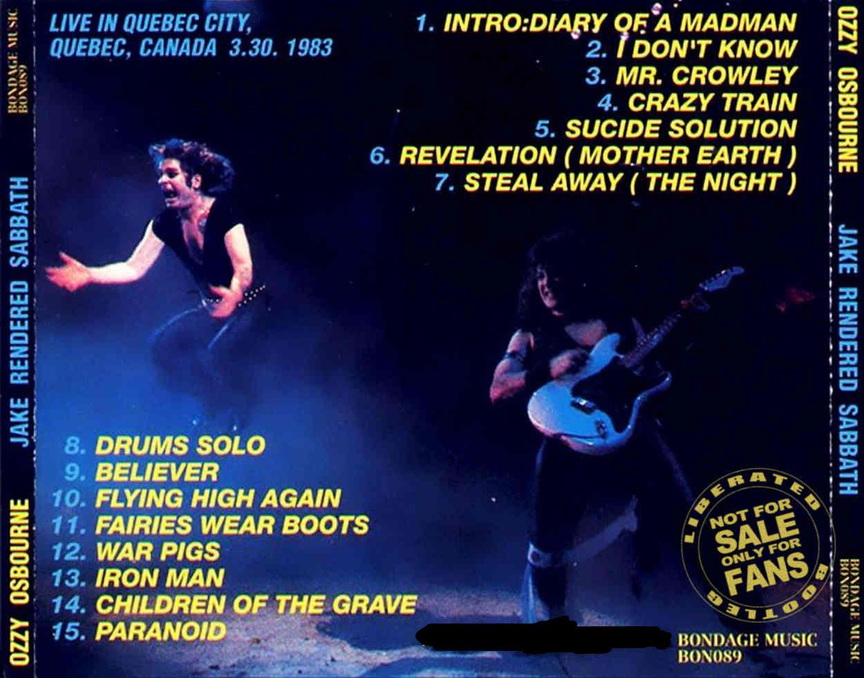 ozzy osbourne 1983 03 30 le colisee quebec canada jake rendered sabbath bootleg rock. Black Bedroom Furniture Sets. Home Design Ideas