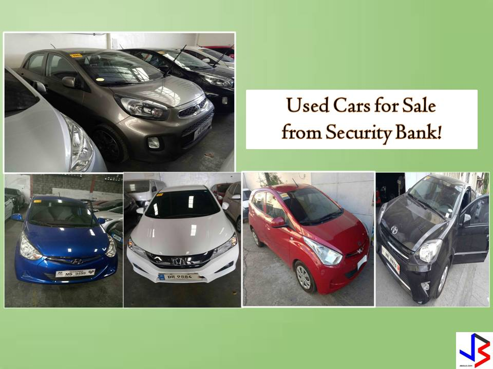 The following are used cars for sale from Security Bank. These are bank-repossessed cars or pre-owned vehicles for sale that come from the Bank's Auto Loan Borrowers who defaulted in their loan obligation. According to the bank's website, these cars are affordable and high quality used cars for sale. Interested buyers can choose from different brands like Ford, Kia, Hyundai, Toyota, Nissan, Mitsubishi.