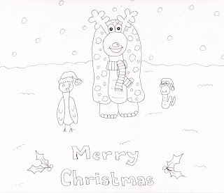 Christmas colouring page of Alfonso the tortoise