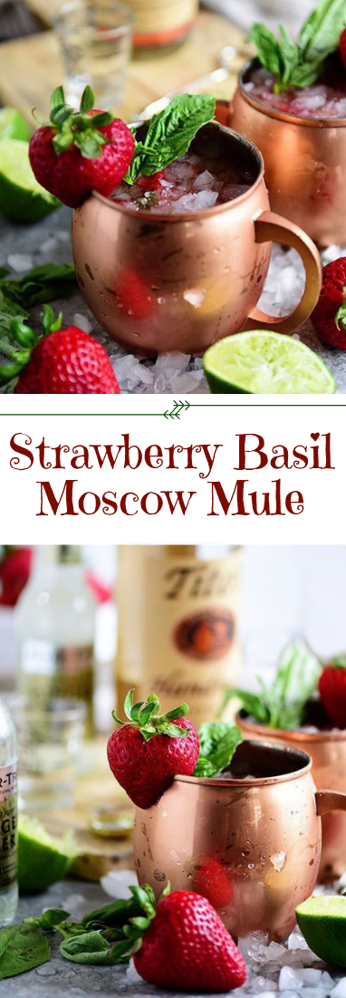 Strawberry Basil Moscow Mule #cocktail #drinksrecipe