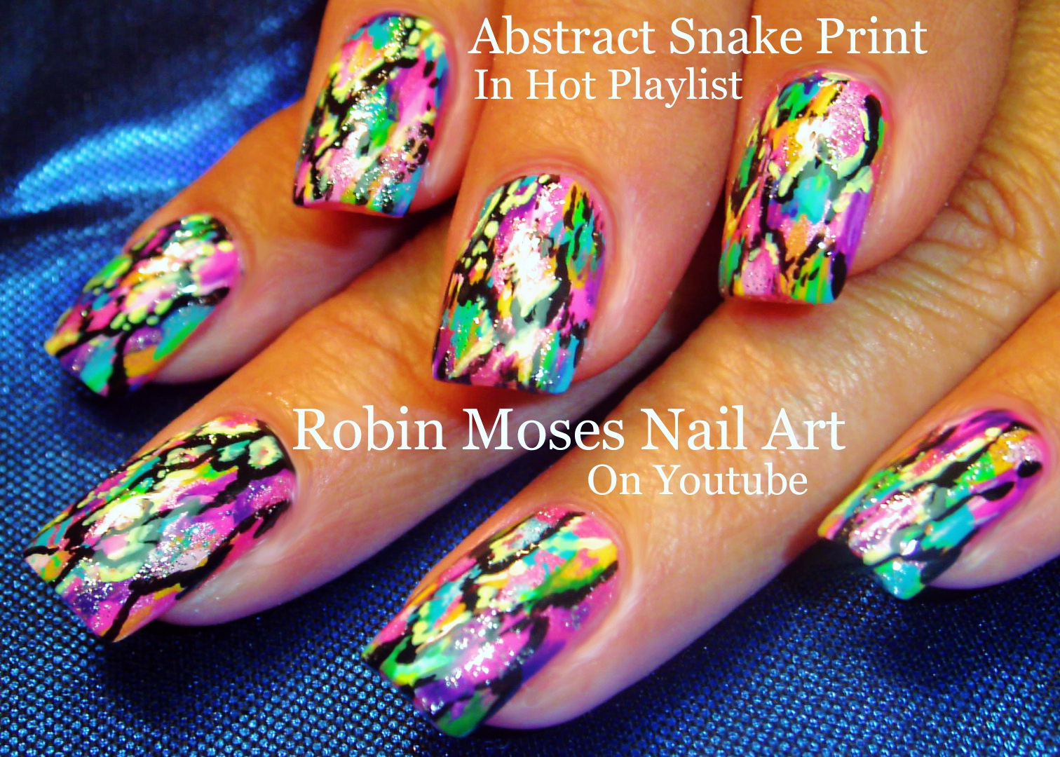 Nail Art By Robin Moses Rainbow Abstract Snakeskin Nails Nail