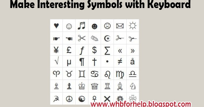 Make Interesting Symbols With Keyboard Whbforhelp