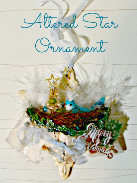 altered art star ornament