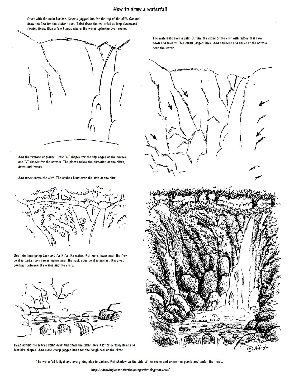 How To Draw Worksheets For The Young Artist How To Draw A Waterfall Printable Worksheet