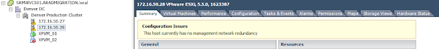 Warning: This host currently has no management network redundancy
