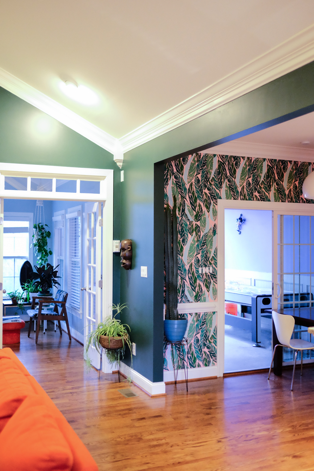 New paint color, Benjamin Moore Tarrytown Green in living room