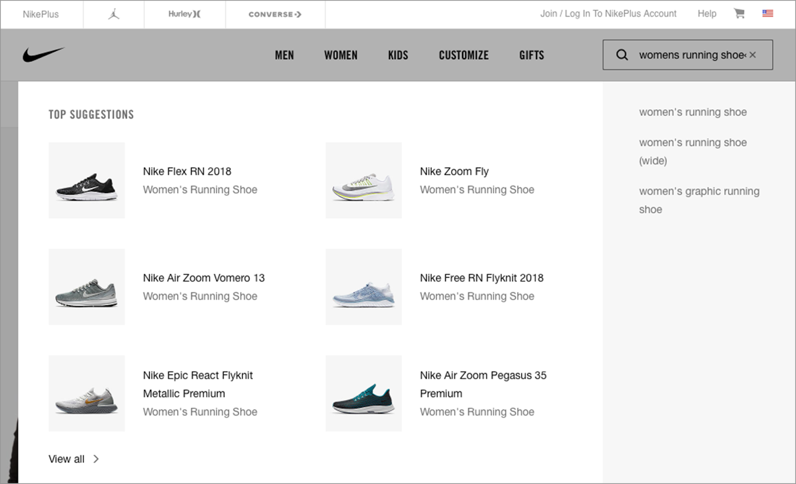 Nike uses a variety product photos matching a user's search input as part of their visual search results display.