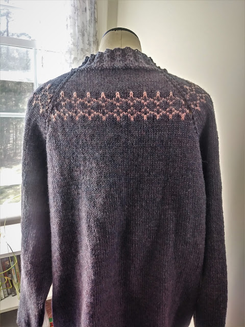 Back view of my newest Easy Ragland sweater from Green Mountain Spinnery