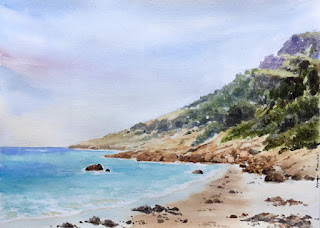 A water colour painting of a seashore at Blue Haven, Esperance, West Australia By Indian artist Manju Panchal