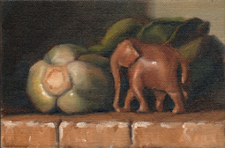Oil painting of a small wooden elephant beside a bok choy cluster.