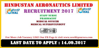 HAL Staff Nurse and  Pharmacist Recruitment 2017