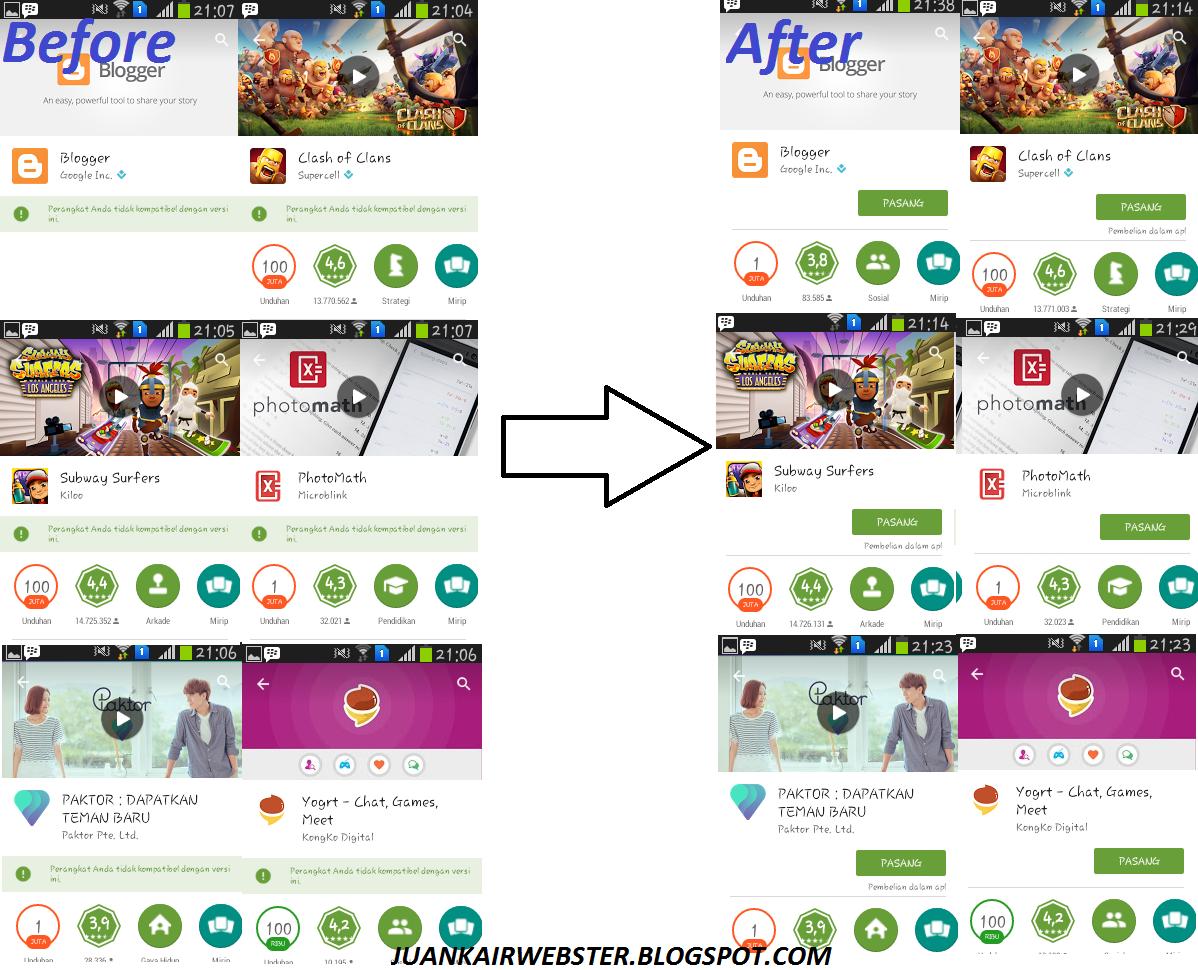 Cara Mengatasi Perangkat Tidak Kompatibel Pada Playstore Juankair
