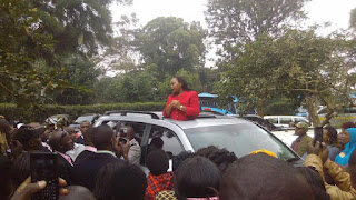 Anne Waiguru meeting his supporters at Kerugoya township. PHOTO | Courtesy