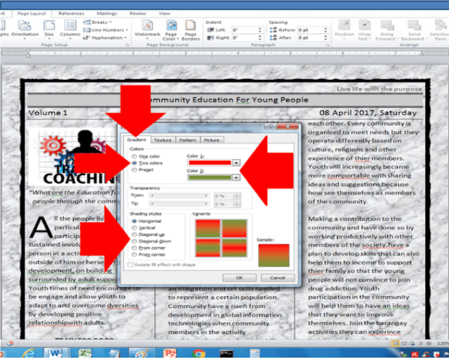 how to change microsoft word document background color