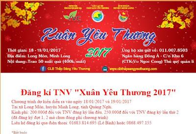 Đăng kí TNV Xuân Yêu Thương 2017