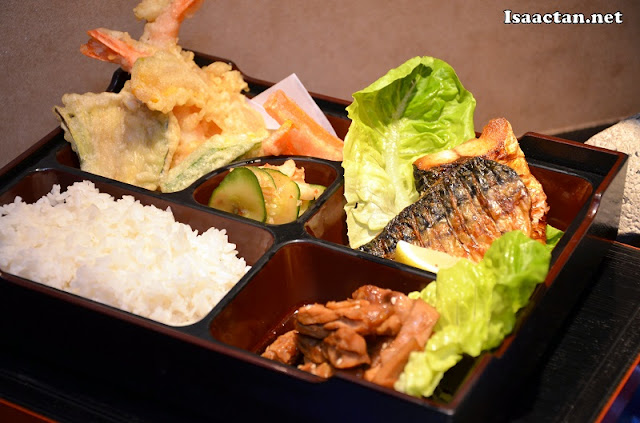 Our Bento Set consisting of chicken, unagi, and vegetable tempura