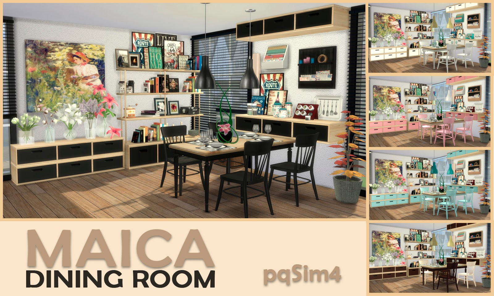 Maica dining room sims4 custom content for Muebles para los sims 3