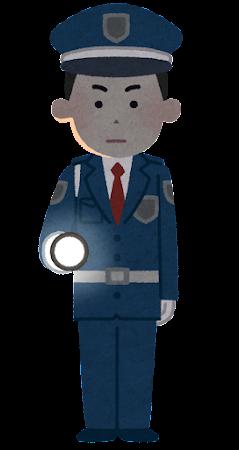 懐中電灯を持つ警備員のイラスト(男性・暗闇)