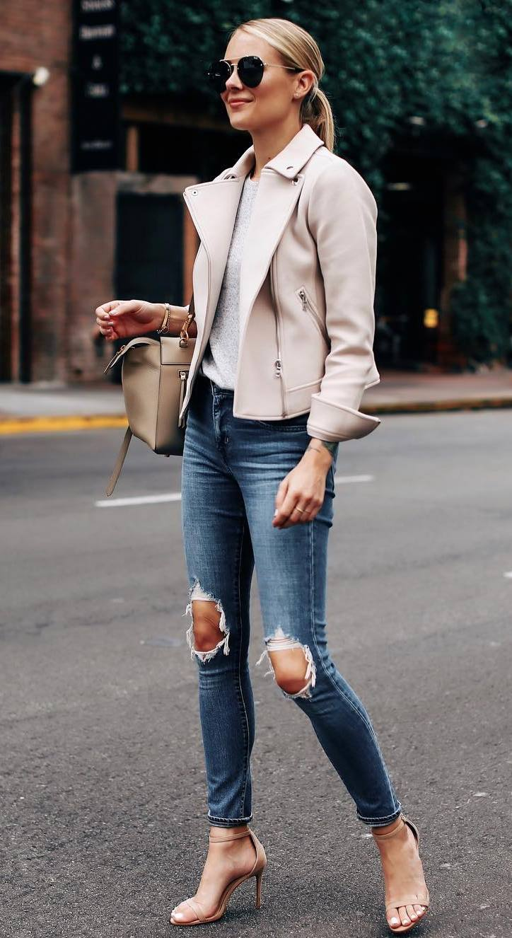 street style addiction / blush biker jacket + grey top + ripped jeans + heels + bag