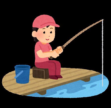 魚釣りをしている女性のイラスト(釣り堀)