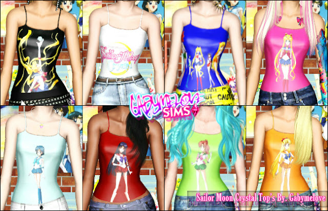 Sailor Moon Crystal Tops - Vista Detallada, Sims 3.