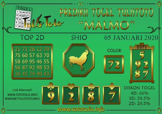 Prediksi Togel MALMO TULISTOTO 05 JANUARI 2020