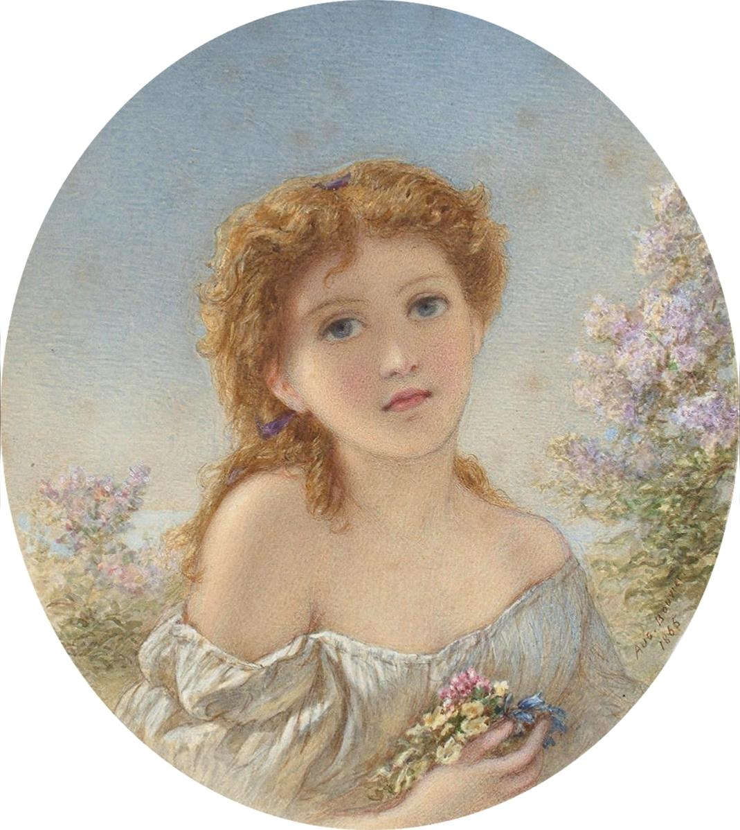 Augustus Jules Bouvier - Девочка с весенними цветами