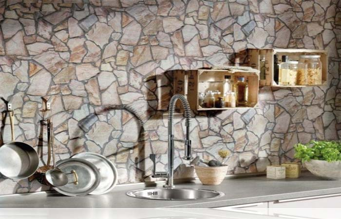 kesilmiş ağaç desenli mutfak duvar kağıdı