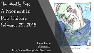 Title slide for The Weekly Pop including the name of the show, the date, and a drawing of Lance as a zombie.