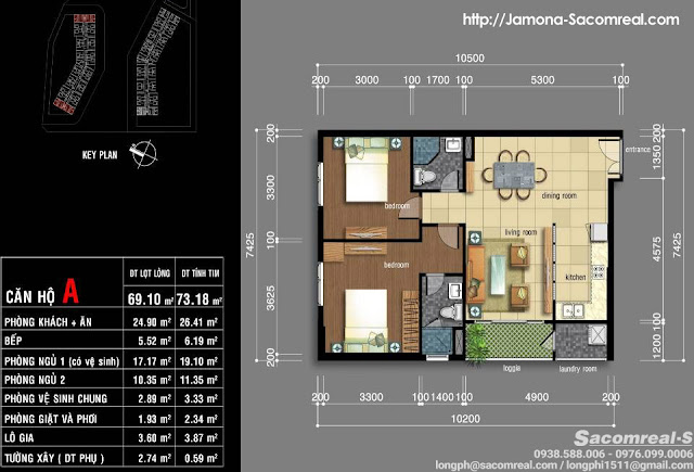 Plan design: A-type Jamona Apartment with 2 bedrooms, 2wc