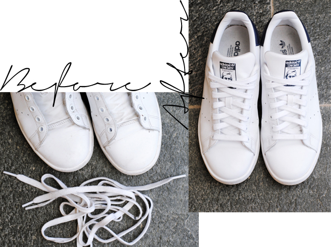 clean white shoes before after
